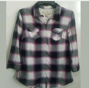 Arizona Girl's Plaid Snap Front Shirt Large
